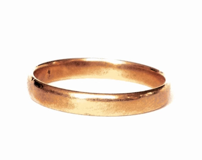 A 3MM Minimalist Early 1900's 14K Yellow Gold Wedding Band Ring, USA Ring Size 7, 1.77 Grams #3226
