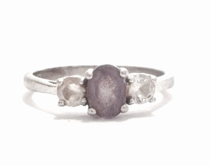 A Designer Signed 'NMY' Amethyst & cz Diamond Embossed Ring / Sterling Silver, USA Ring Size 9, 2.88 Grams #3366