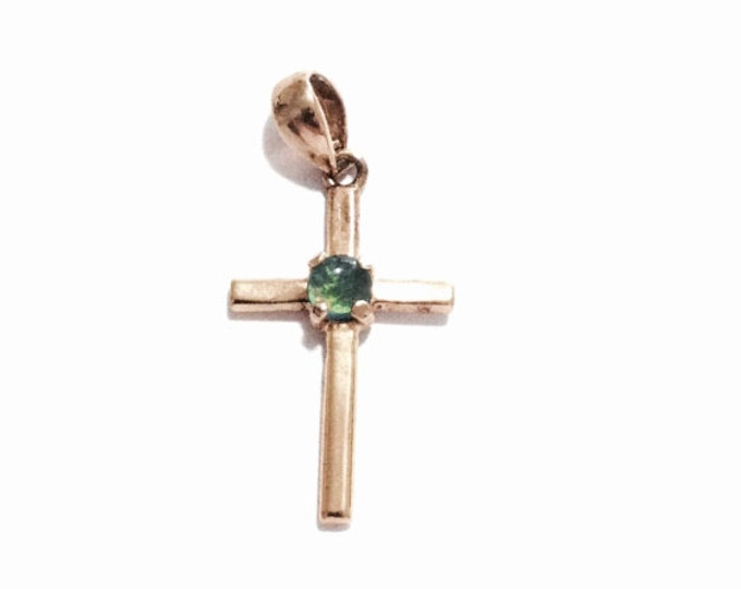 "An Early Art Nouveau 24K gp & Solitaire Rainbow Opal Embossed Cross-Crucafix Pendant-Charm / Sterling Silver, 1.25x.5x.25"", 1.21 Grams #3389"