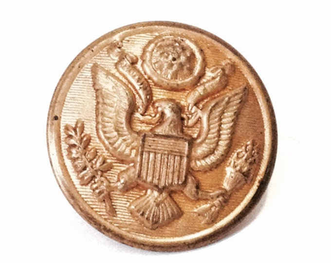 """A Rare WWII Zell Products Corp NYC, USA Brass Army Uniform Button, 1x1x.5"""", 4.28 Grams #4047"""