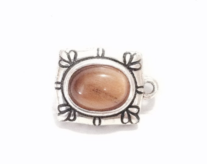 "A Solitaire Oval Cut Tigers Eye Charm - Jeweler's Finding / Sterling Silver, .5x.3x.25"", 1.87 Grams #3882"