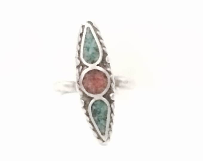 A Rare Anthony Skeet Navajo Designer Signed Inlaid Red Coral & Turqouise Ring, USA Ring Size 6.5, 3.67 Grams #4110
