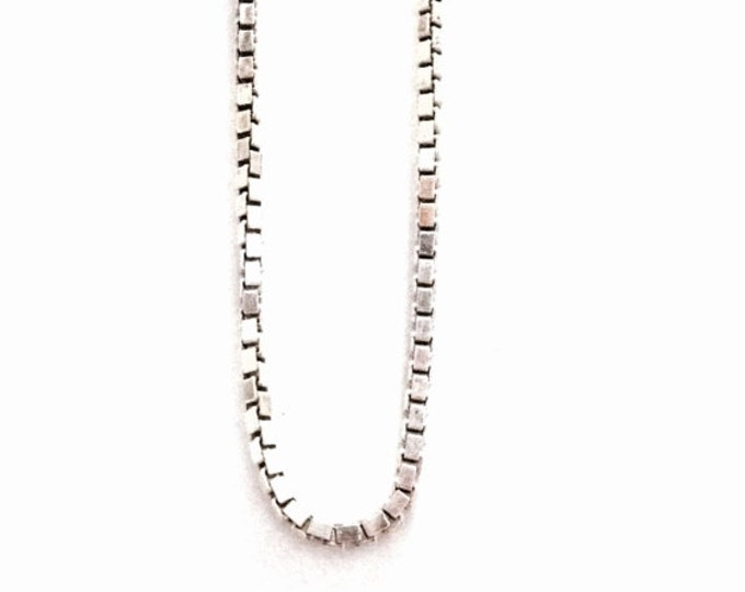 """A 16"""" Mid Century Italian Briollete - Box Chain Necklace / Sterling Silver, Spring Clasp, 3.75 Grams #3375"""