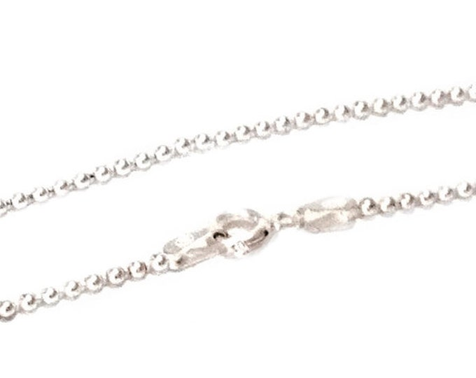 """A 14K White Gold Elegant Ball-Bead Chain Necklace, (0.9mm) - w/ A Spring-Ring Clasp (16,18,20,24)"""" #C67"""