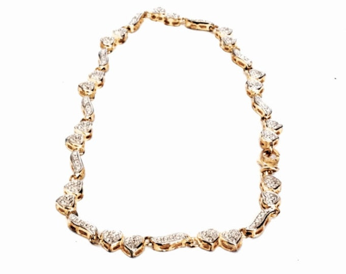 "A Mid Century Designer Signed Seta 9"" Art Nouveau cz Diamond Heart-Link Bracelet / GP Sterling, Spring Clasp, 8.79 Grams #3124"