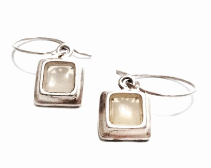 """A Pair of 1940-50's Square Cut Citrine Embossed Threader Earrings / Sterling Silver, 1x.25x.2"""", 2.60 Grams #3365"""