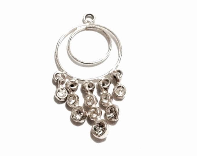 "A Delicate Doublet-Circle & Drop-Cz-Diamond Embossed Charm/Pendant, 1x0.5x.1"", 1.09 Grams #3237"