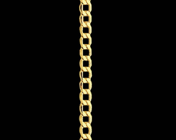 Cuban link chain necklace in 14k yellow gold, 3.50mm, lobster claw clasp; 18, 20, 22 or 24 inches.