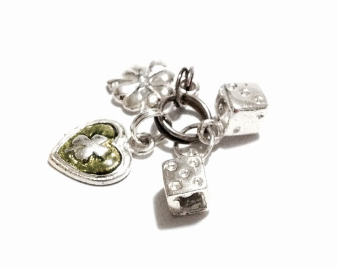 """A Cute Retro-Modern Designer Signed GS Double Lucky Clover & Dice Charm-Pendant / Sterling Silver, 1x.5x.25"""", 2.48 Grams #3238"""