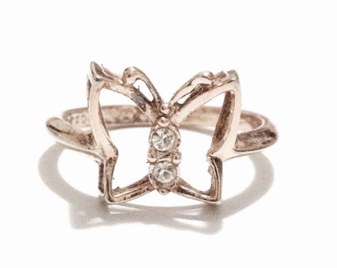 A Delicate Mid-Century Ornate cz Diamond Embossed 3-D Butterfly Ring / Sterling Silver, USA Ring Size 5, 2.04 Grams #3263