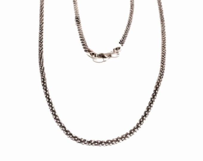 """A Sublime 19"""" Spin Twisted Italian Chain Necklace / Sterling Silver, Spring Clasp, 5.57 Grams #3994"""