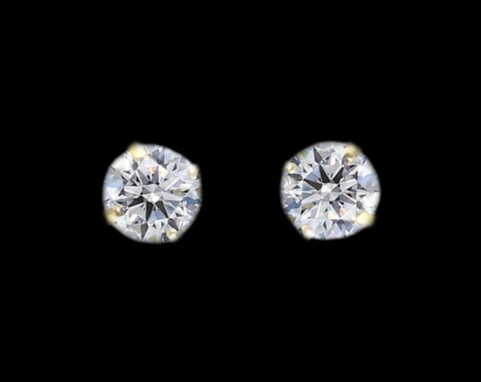 A Pair of Internally Flawless Round Brilliant Diamond Earrings In 14K Yellow Gold By C. L. Lewis (+GIA Diamond Dossier's) 0.46 TCW #C55
