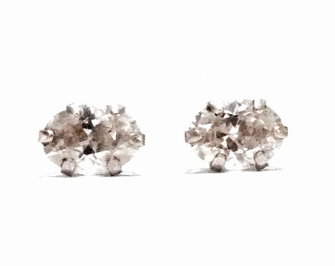 A Sublime Pair of 3/4 CT Oval Cut Brilliant White cz Diamond Earrings / Sterling Silver w/ Butterfly Backs, 88 Grams #4016