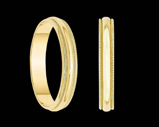 Mililew half round milgrain edged wedding band ring in 10k yellow gold, 3.00mm.
