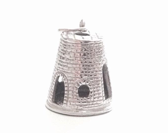 "Mid-Century Designer 'MZN' Detailed Sandcastle Charm - Pendant / Sterling Silver, .75x.5x.5"", 4.8 Grams #3360"