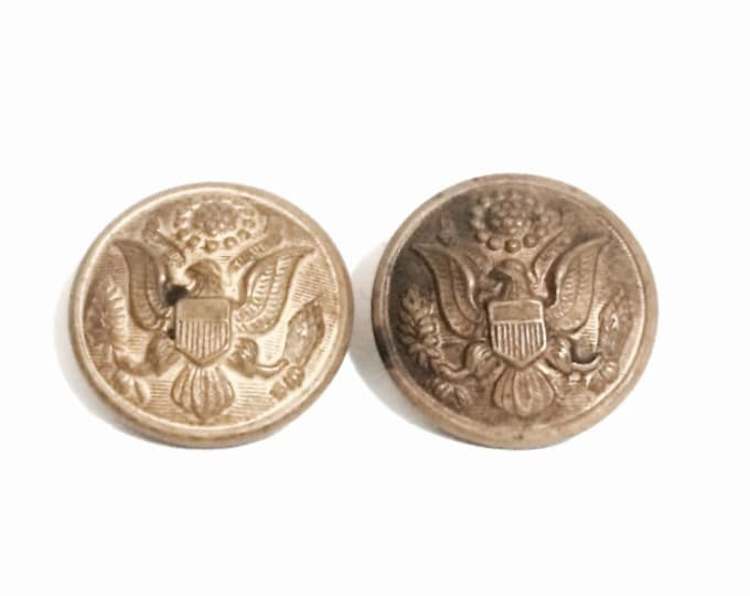 "A Pair of Rare J.R. Caunt & Son Designer USA Army Brass Military Uniform Button, .75x.5"", 7.8 Grams #4126"