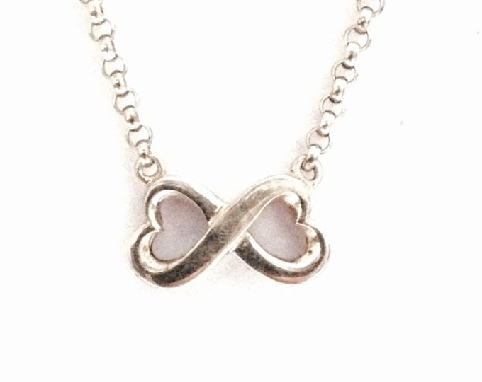 """A Mid-Century Doublet-Wrapped-Heart Charm-Pendant on a 16"""" Cable Chain Necklace /Sterling Silver, Spring Clasp, .75x.25x.2"""", 7.5 Grams #3377"""