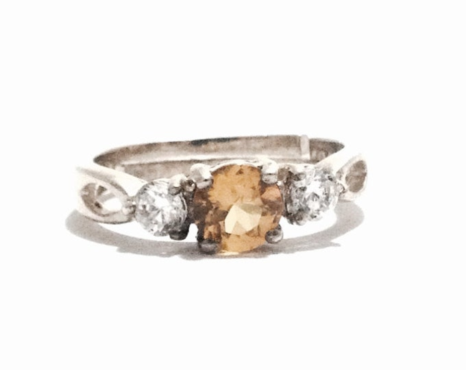 An Early 1930-40's Designer AVON Solitaire Citrine & doublet cz Diamond Adjustable Ring / Sterling Silver, USA Size 6.75,  2.73 Grams #3395