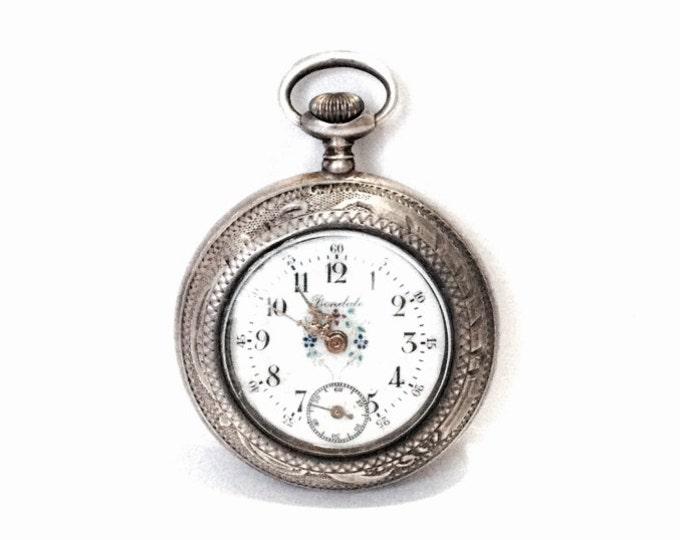 "A Late 19th Century Bondale Flowering Enamel Porcelain Faced Pocket Watch / 0.935 Swiss Silver Case,  1.75x1.5x.45"" , 26.85 Grams #4024"