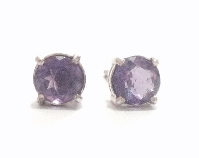 """A Stunning Pair of Mid-Century Solitaire Amethyst Stud Earrings / Sterling Silver, w/ Butterfly Backs, .75x.25x.25"""" Each, 1.66 Grams #3358"""