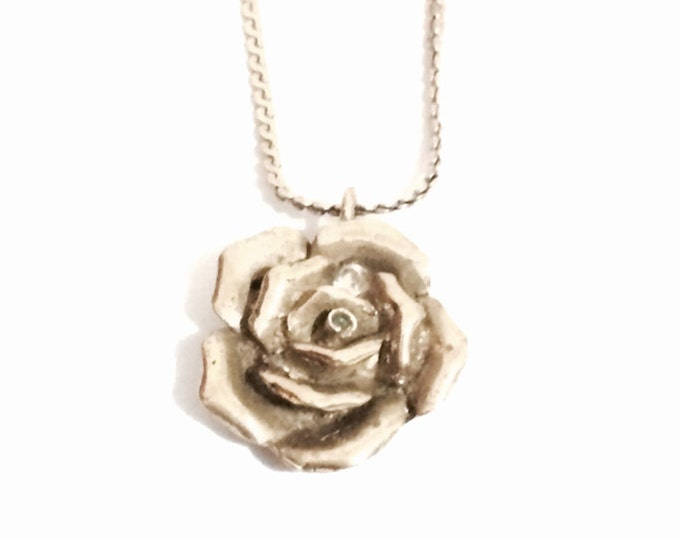 """Handcrafted Designer J. Adelson Flowering cz Diamond Embossed Rose on a 15"""" Brass Chain Necklace, Pendant: 1x.75x.25"""",  23.9 Grams #4142"""