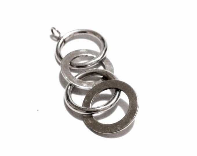 """A Minimalist Four Silver Looped Charm - Pendant / Sterling Silver, 1x.5x.25"""", 1.66 Grams #3255"""