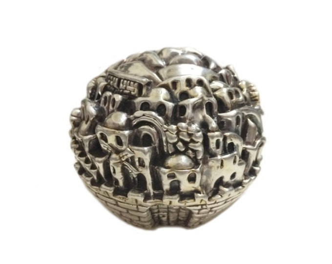 A Rare Early Sam Philipe - Israeli Modernist Designer Handcrafted Globe Sculpture of Jerusalem in Sterling Silver, 115 Grams, 6x5x6 CM #4290