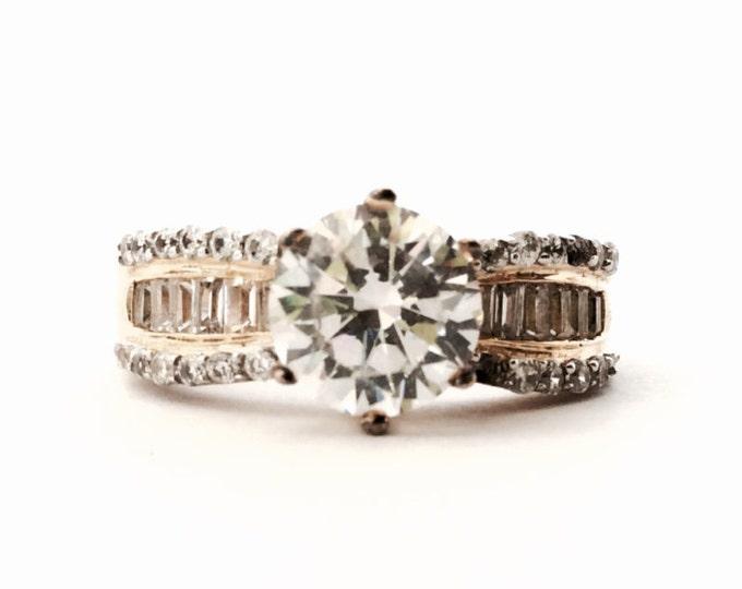 A Seta Designer Statement Solitaire cz Diamond & Pavé Ring / GP Sterling Silver, 34/37 Stones Remain, 5.93 Grams, USA Ring Size 8 #3117