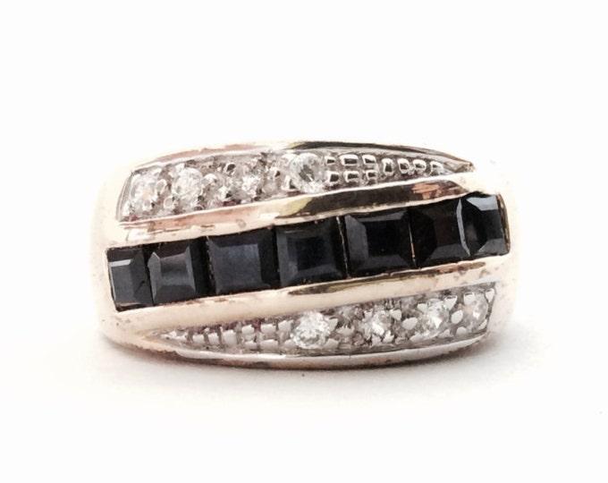 Seta Designer Signed Square Cut Blue Sapphire & Brilliant Cut cz Diamond Paved Ring, 7.01 Grams, USA Ring Size 8 #3127