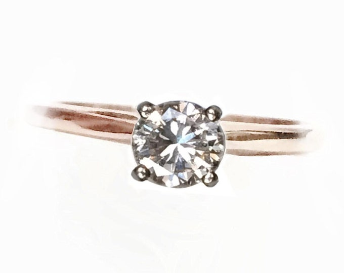 A Brilliant Round 0.58 ct. Solitaire Diamond Engagement Ring in 14K Yellow Gold (White Mount)[Color:(I);(SI2);VG-Cut) USA Ring Size 7, #4165