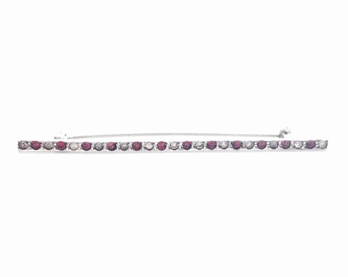"An immaculate 1920's Art Deco Ruby & cz Diamond Embossed Brooch-Pin / Sterling Silver, 3x.25x.25"", 3.45 Grams #3437"