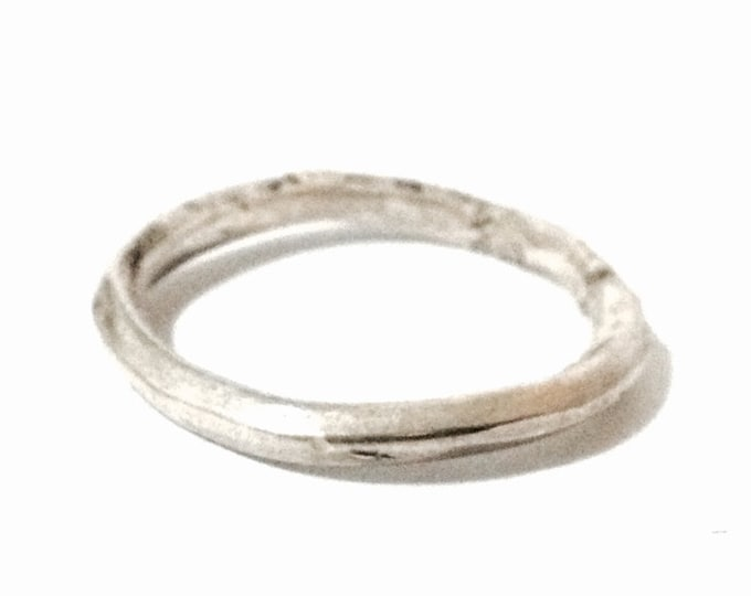 A Thick Handmade Modernist Designer Band Ring / Sterling Silver, USA Ring Size 9.5, 3.07 Grams #3948