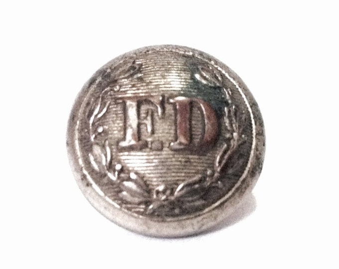 "Antique FD 1960-70's CEO Evans & CO Philadelphia Fire Department Uniform Button / Silver Finished Brass, .35"", 1.81 Grams #4096"