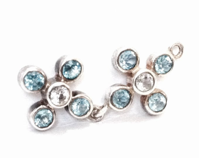 "An Elegant Mid-Century Thai Doublet Flowering cz Diamond & Aquamarine Charm - Finding / Sterling Silver, 1.25x.5x.25"", 2.64 Grams #4056"