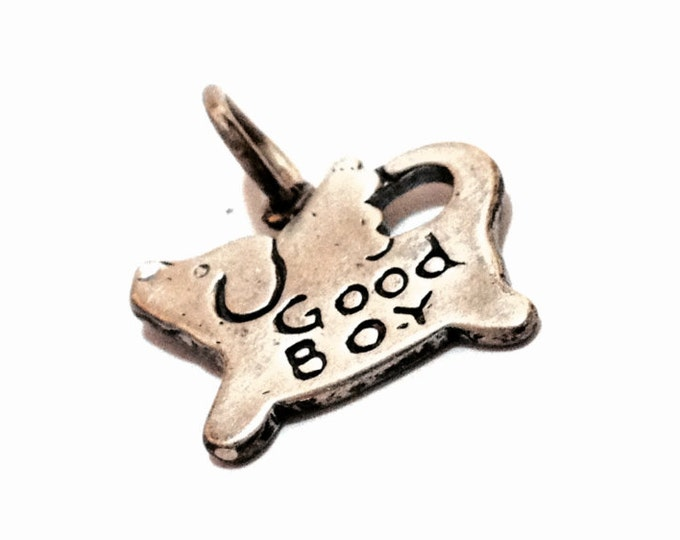 "A 1950-60's Dog-Angel Charm/Pendant Embossed ""Good Boy"", .75x.5x.25"", 2.07 Grams #3309"