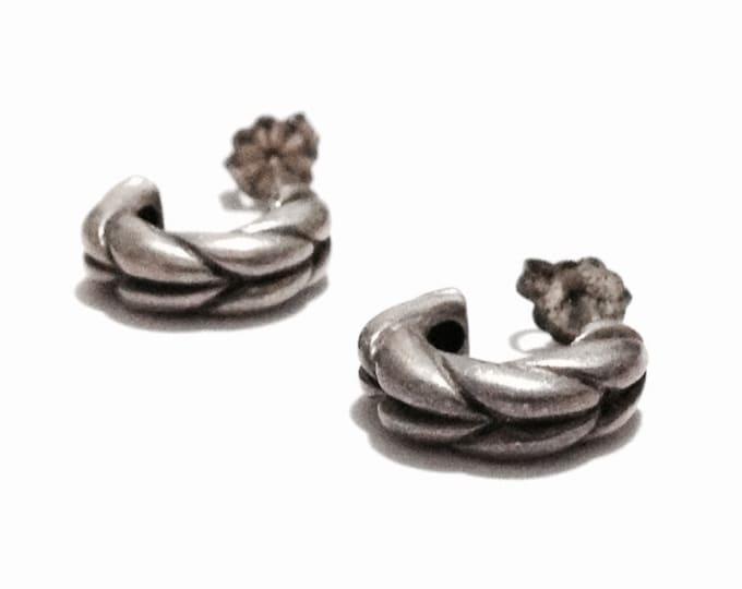 "Early 1920-30's Art Nouveau Thick Half-Moon Rope Stud Earrings / Sterling Silver, w/ Butterfly Backs, 1x.5x.25"" Each, 4.23 Grams #3264"