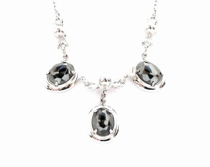 """An 13.5-17"""" (adjustable) Retro - Modernist 'AMCO' Designer Signed Art Nouveau Hematite Necklace / Sterling Silver, 9.9 Grams #3372"""