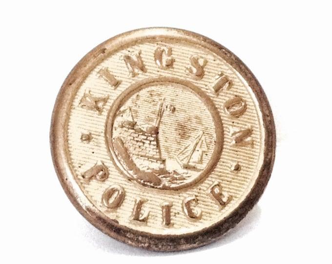 "A Mid-Century Superior Quality Kingston NY Police Brass Uniform Button, .55x.55x.5"", 2.11 Grams #4088"