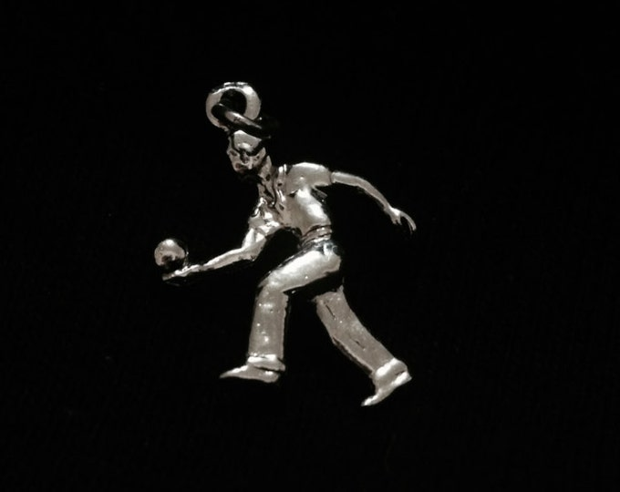 "A 1960-70's Retro Man Bowling Charm-Pendant / Sterling Silver, 1x.5x.25"", 1.69 Grams #3317"