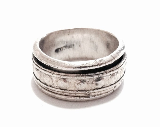 A Mid Century Mexican Doublet Stacked Spinning Ring / Sterling Silver, size 9.5, 9.38 Grams #3670