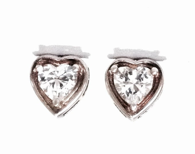 "A Pair of Mid-Century 1CT Brilliant Heart Cute cz Diamond Stud Earrings / Sterling Silver w/ Butterfly Backs, .6x.4x.4"", 2.3 Grams #4055"