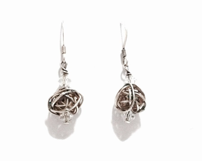 A Sublime Pair of Celtic Crystal Wrapped Threader Earrings / Sterling Silver, 1x.25x.25, 2.22 Grams #3244
