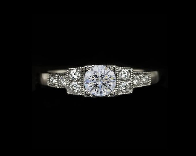 A Timeless Art Deco 0.61 TCW Engagement Ring - Main Brilliant Round GIA 1/2CT Ideal Cut (G) (SI2) In 14K White Gold By C. L. Lewis #C29