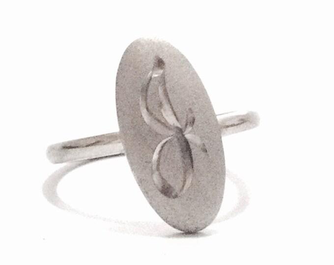 Mid Century Designer Signed 'SHANK' Monogrammed 'B' Open - Ring / Sterling Silver, USA Ring Size 7,  2.56 Grams #3340