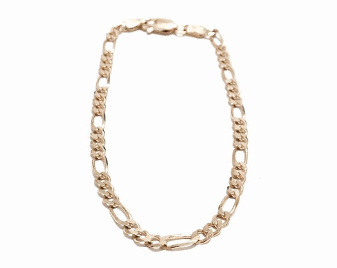 """A Stunning 7"""" Mid-Century Italian Designer Signed Figarucci Chain Bracelet / 14K Yellow Gold, Spring Clasp, 1/8"""" Thick, 3.23 Grams #3235"""