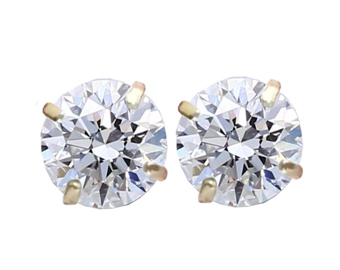 1.00 TCW Round Brilliant Diamond Stud Earrings in 14K Yellow Gold by C. L. Lewis, Screwbacks (IDEAL-SI2-F)+GIA Diamond Dossier's #C83