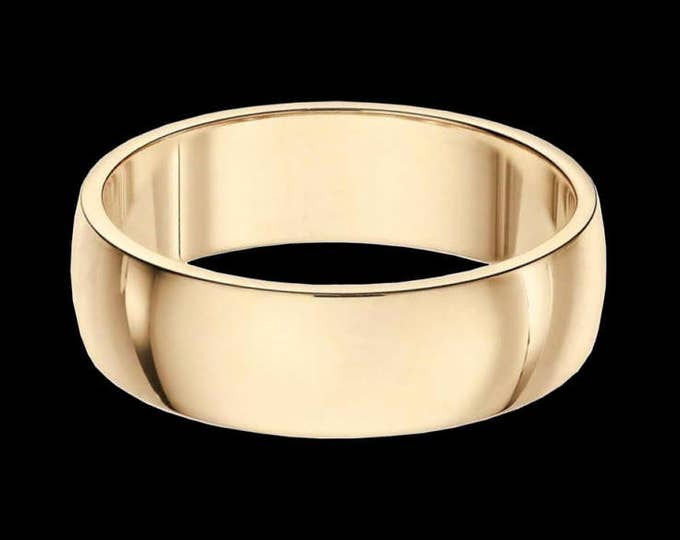 A 6MM Vast Reflection Band In Solid 14K White or Yellow Gold #C97