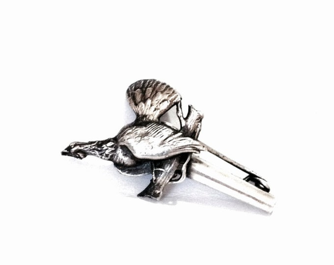 """An Early 1920-30's Art Nouveau Handcrafted Scroll Perching Bird Brooch-Pendant / Sterling Silver, 2x1x.5"""", 3.18 Grams #3987"""