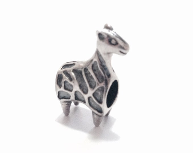 "A Mid Century Hammered Giraffe Loop Pendant-Charm / Sterling Silver, .5x.5x.25"", 2.75 Grams #3439"