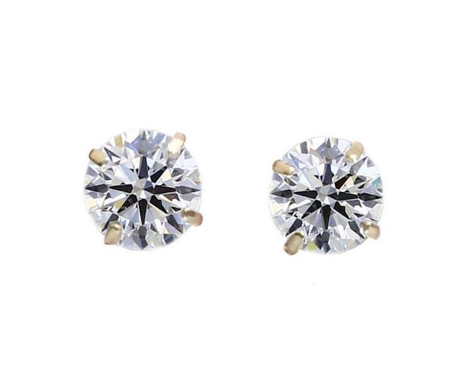 1.00 TCW Round Brilliant Diamond Stud Earrings in 14K Yellow Gold by C. L. Lewis, Screwbacks (Ideal-Si1-J)+GIA Diamond Dossier's #C84